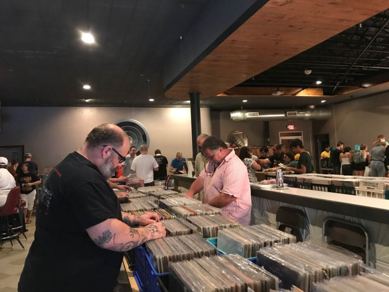 Music lovers of all ages gathered at The Wooly to sift through countless records for vinyl treasures.