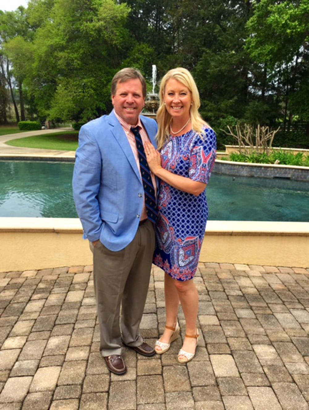 <p>Coach Jim McElwain and Karen McElwain before attending Easter Sunday service last month. The McElwains have been in Gainesville for a year now, with a 10-4 regular season record in their first season with the Gators.</p>
