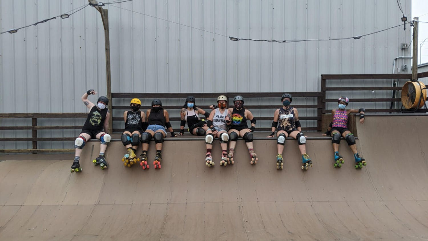 Despite practices and bouts being cancelled, the Roller Rebels have spent time at the skatepark with mask-covered faces to stay happy and healthy.