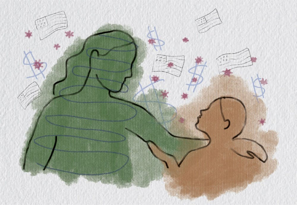 Graphic of a mother and child