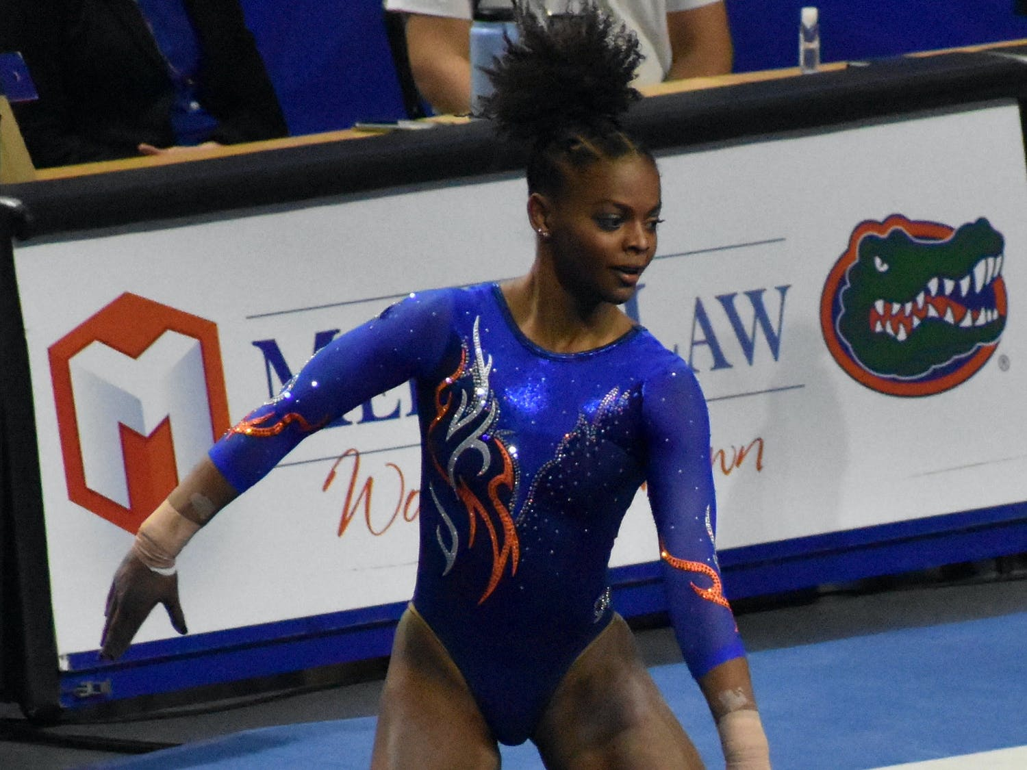 Star gymnast Trinity Thomas may perform in the bars lineup in the upcoming NCAA Regionals. Photo from UF-Mizzou meet Jan. 29.