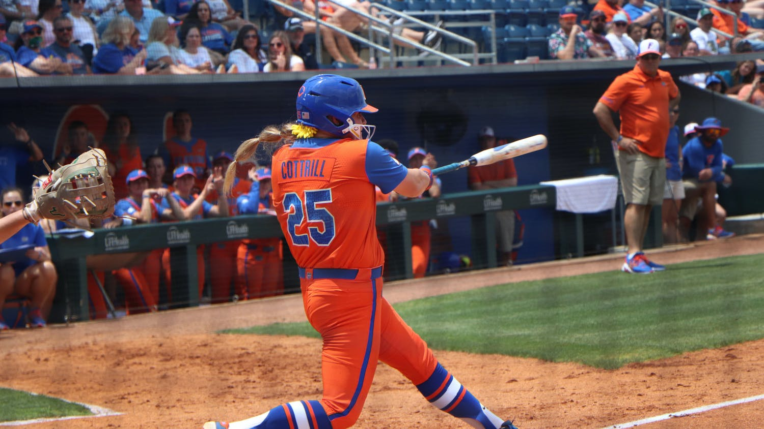 Julia Cottrill swings Friday against USF. Cottrill helped lead the Gators to an 8-0 win over the Bulls Sunday.