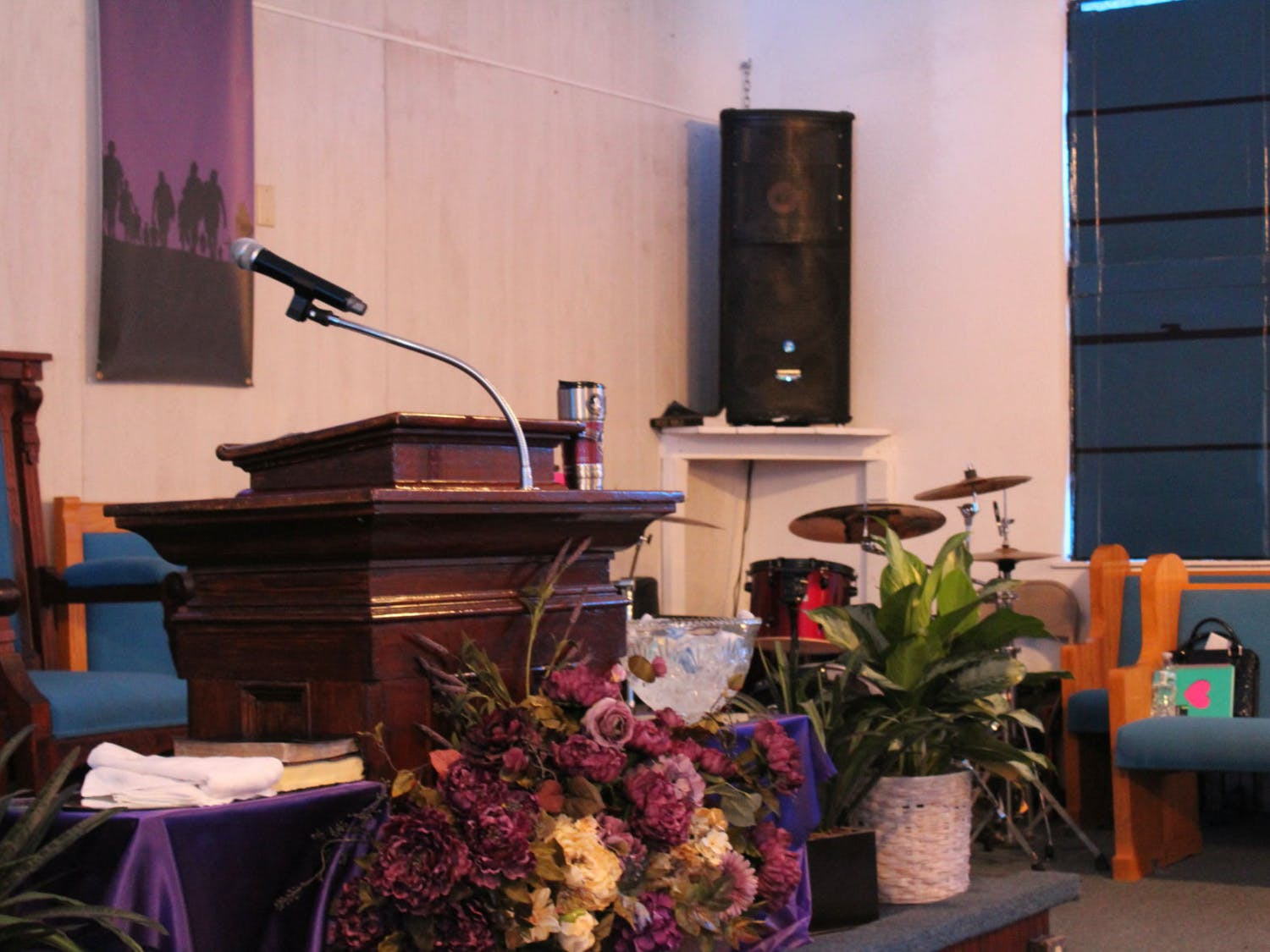 From this angle inside the New Beginning Christian Worship Center, the pulpit is seen in the foreground with the drums Sean used to play in the background. Sometimes during service, Chris said he can't help but glance over and remember how much his son loved those drums.