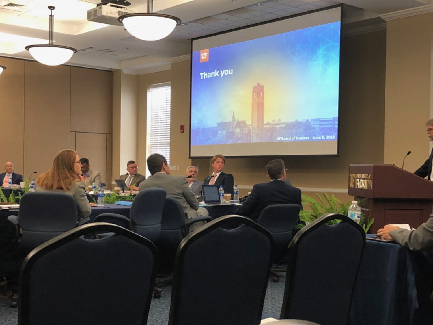 The UF Board of Trustees meeting on June 8, 2019 held in Emerson Alumni Hall.