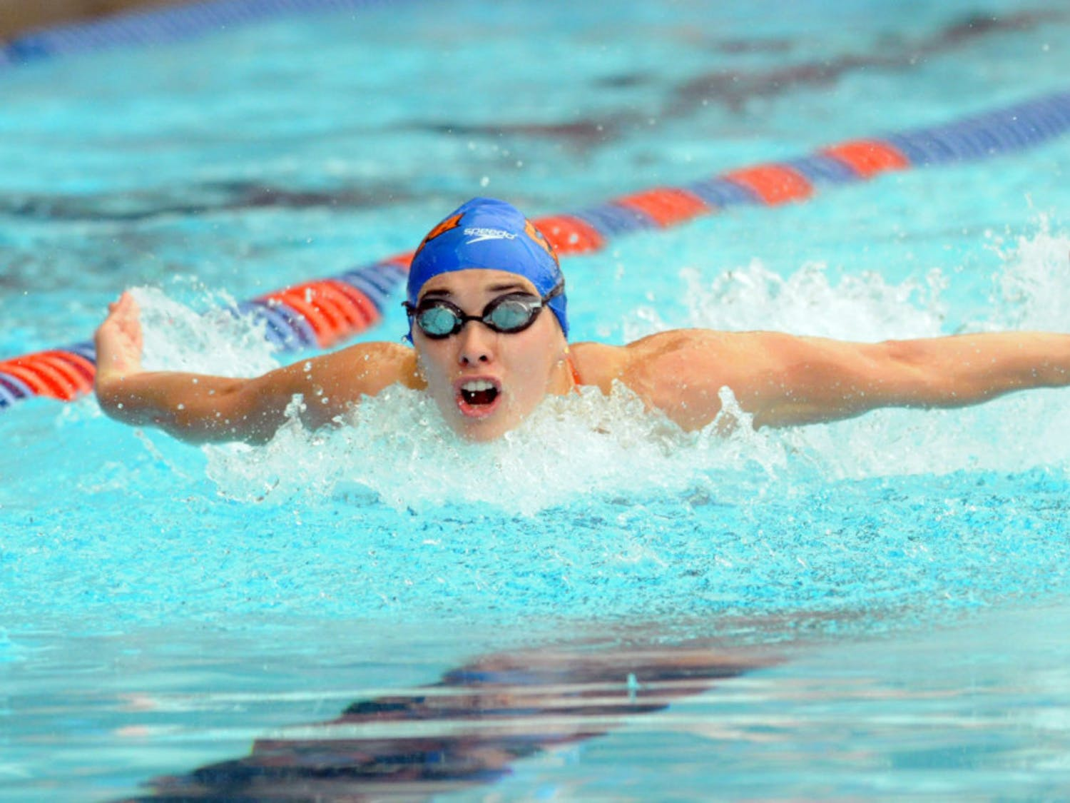 Georgia Marris races during Florida's meet against Auburn on Jan. 23, 2016, in the O'Connell Center.