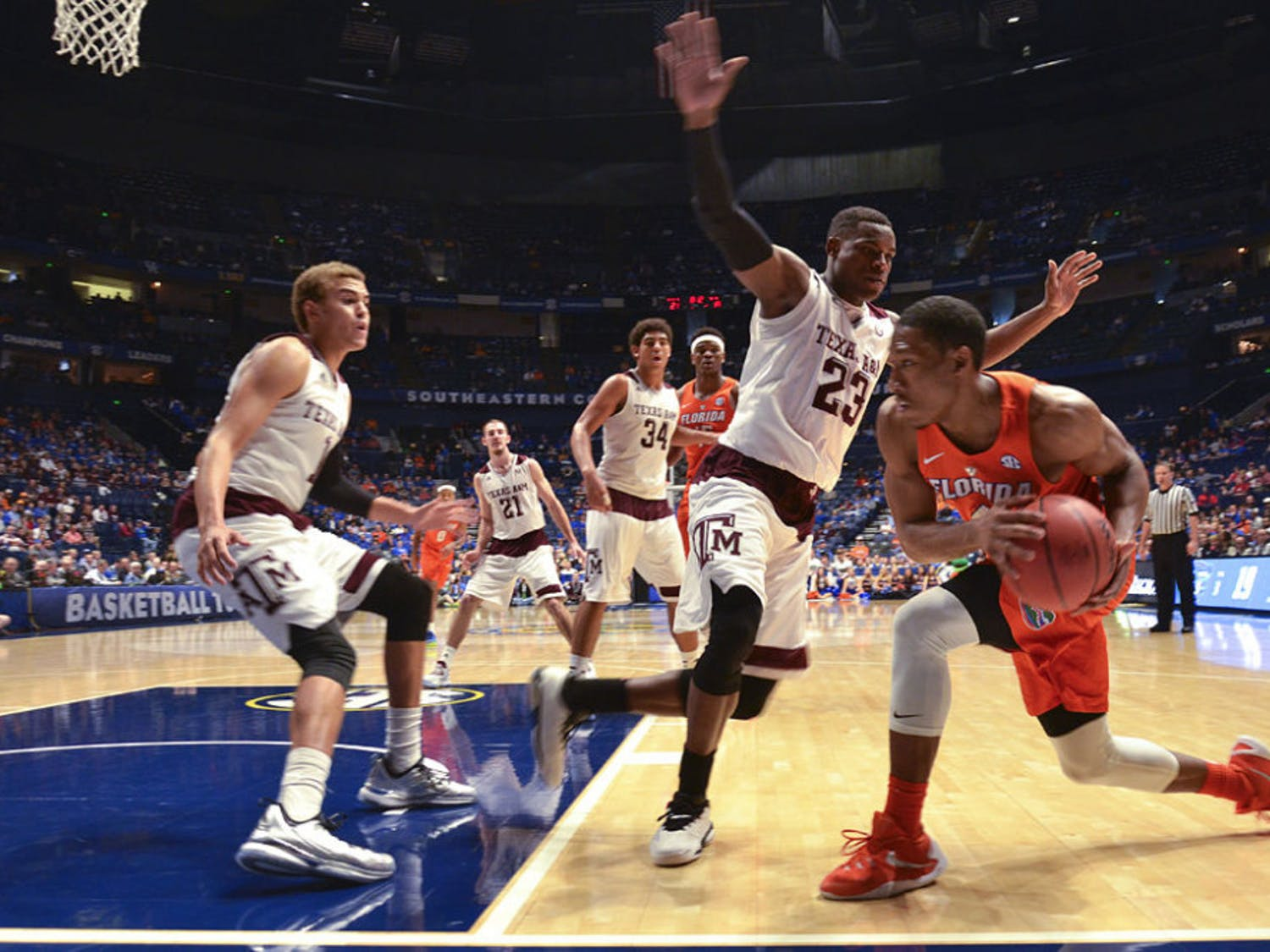 KeVaughn Allen looks to pass during Florida's 72-66 loss to Texas A&M on March 11, 2016, in the SEC Tournament.