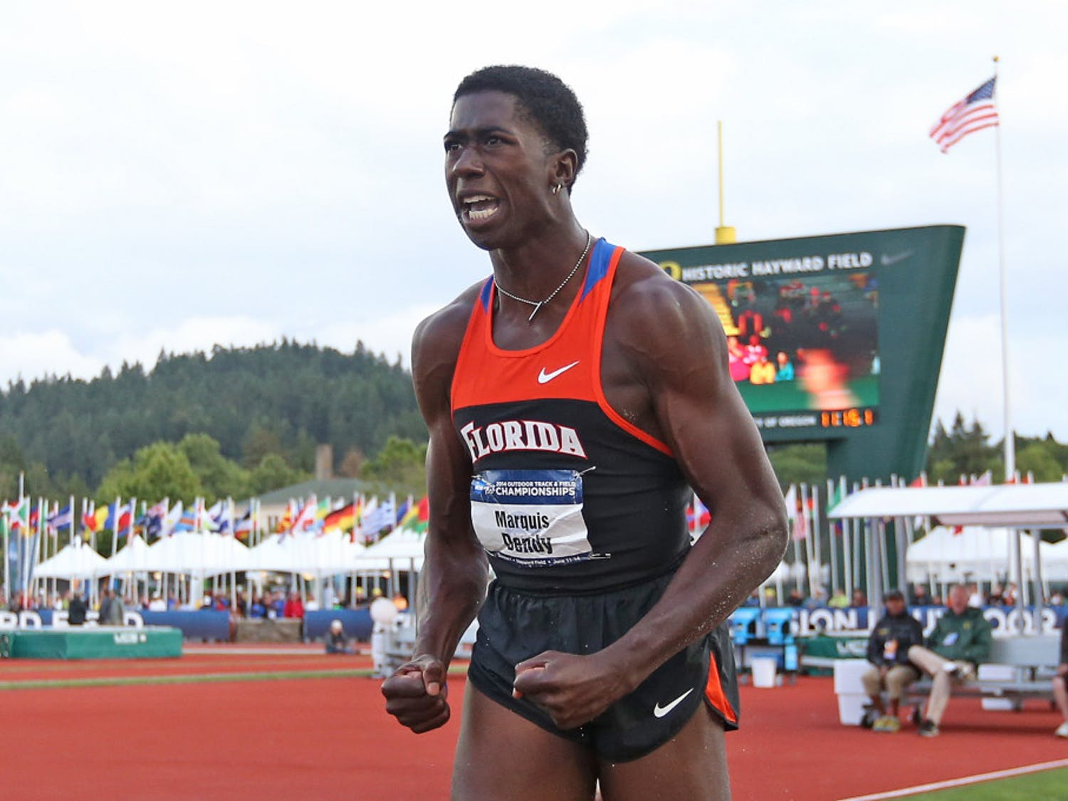 Florida's Marquis Dendy reacts after competing in the long jump at the NCAA track and field championships on June 12 in Eugene, Ore. Dendy became the first athlete to win both the long jump and the triple jump at the NCAA Outdoors since 2002.
