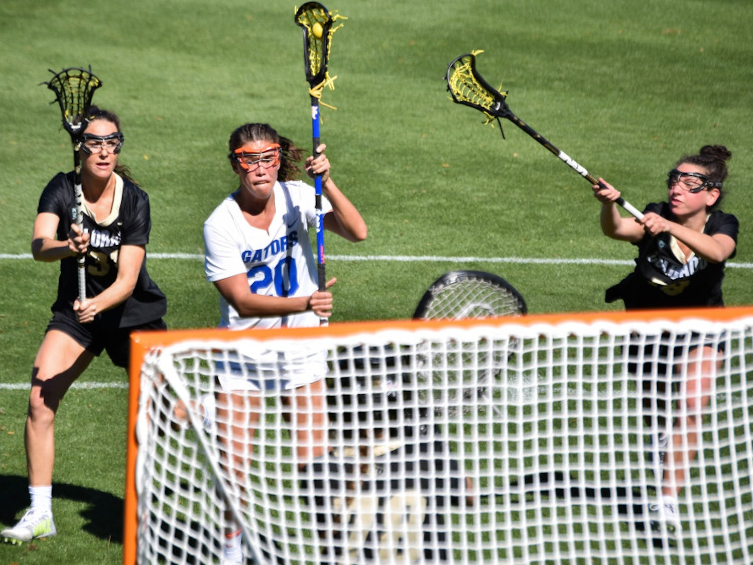 Brianna Harris scored two goals in the loss to Loyola.