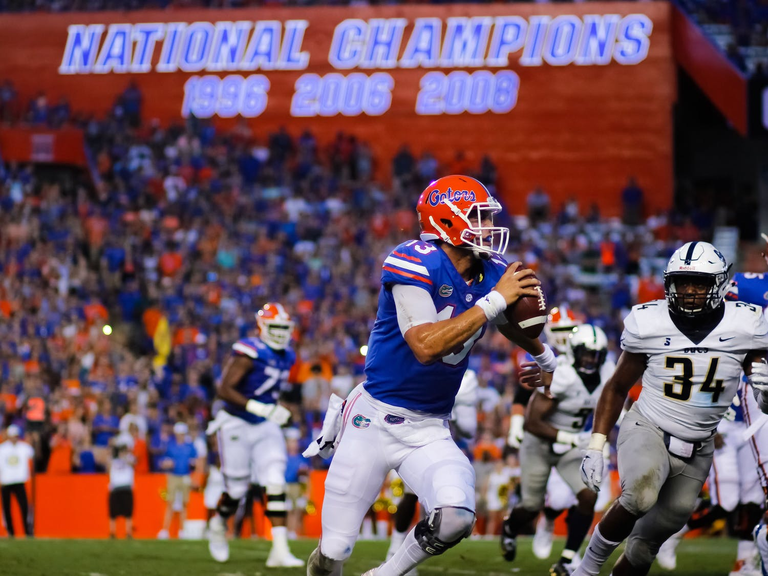Quarterback Feleipe Franks went 16-for-24 for 219 yards and five touchdowns in the first half against Charleston Southern before being subbed out for the second half.