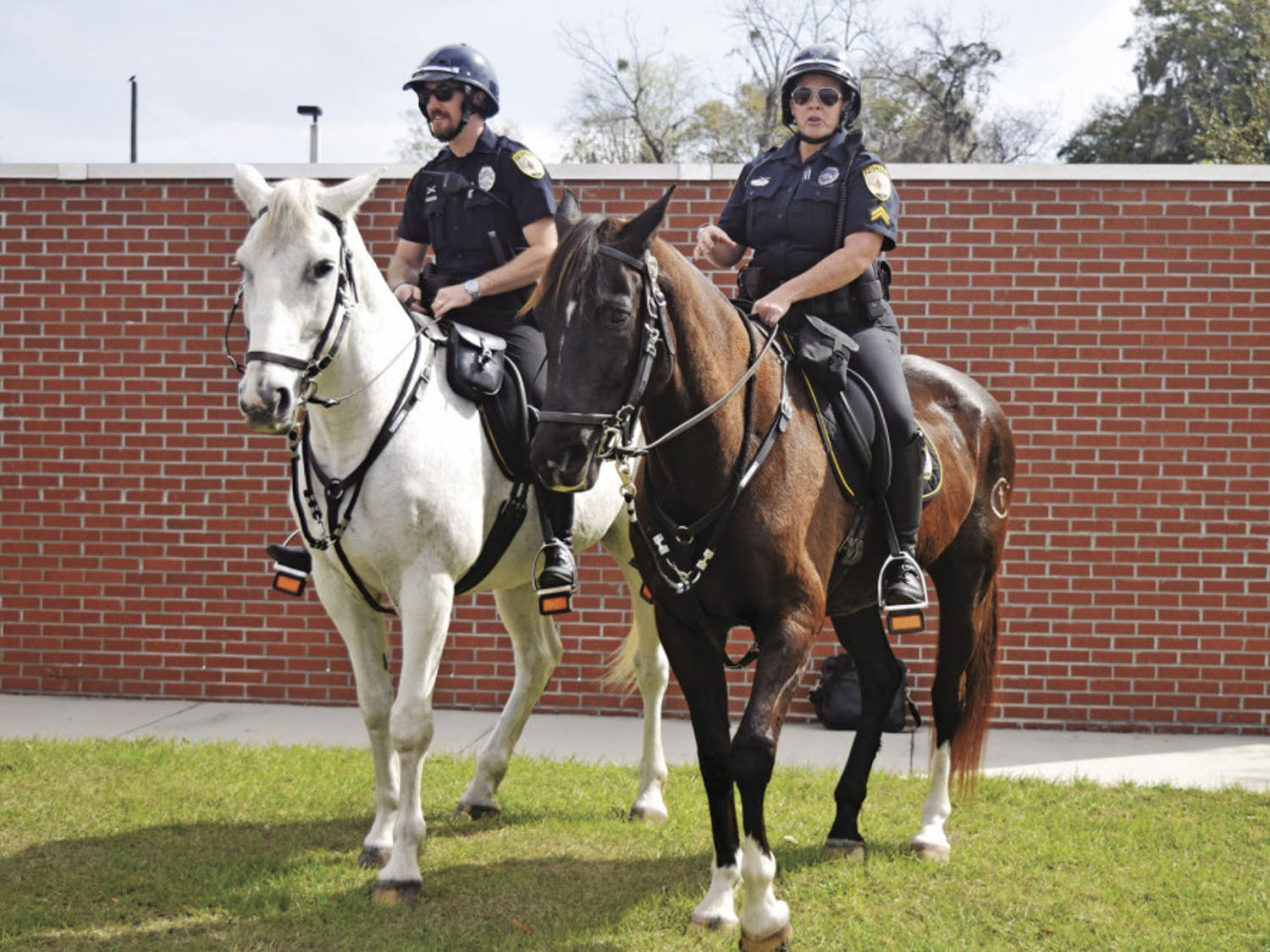 From left: Officer Ryan Foster rides Merlin and Cpl. Tracy Fundenburg rides Zeus. The two horses have been working for Gainesville Police's mounted unit for about 10 years. On Tuesday, the horses retired.