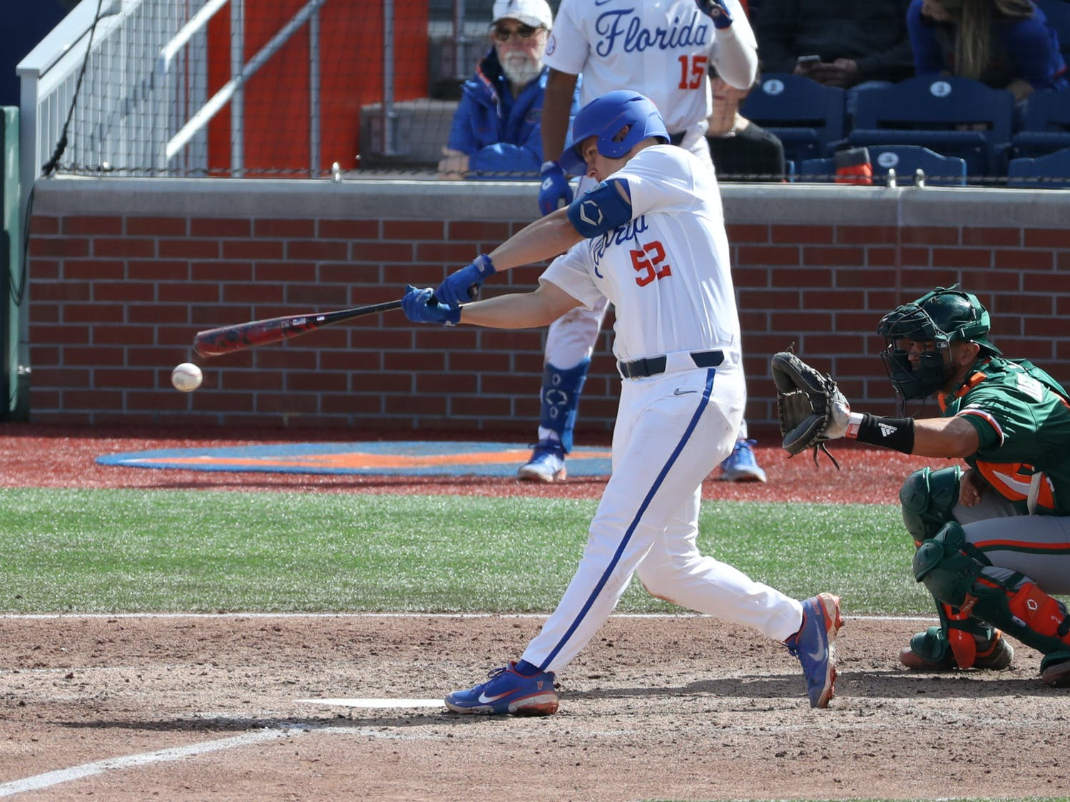 The gift of a season and the ability to play again isn't lost on the Florida dugout. Photo from the UF-UM game Feb. 21. Courtesy of the SEC Media.