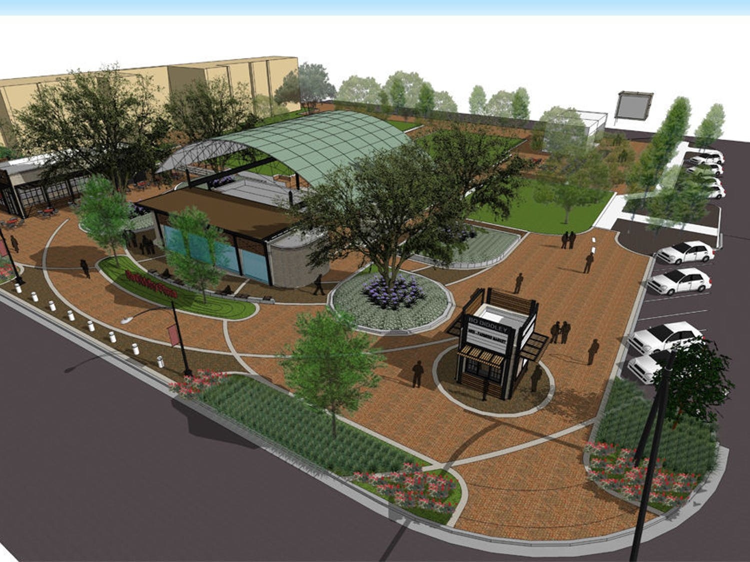 Pictured is a rendering of how Bo Diddley Community Plaza will look after its about $1.86 million renovation. The plaza will close on March 1, and renovations are expected to take one year to complete.