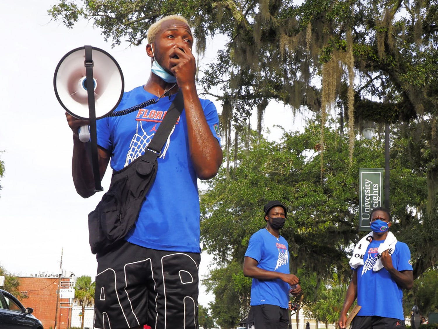 Sophomore guard Scottie Lewis at the Black Lives Matter protest in Gainesville on Aug. 28, which also had members of Florida's football and volleyball teams in attendance.