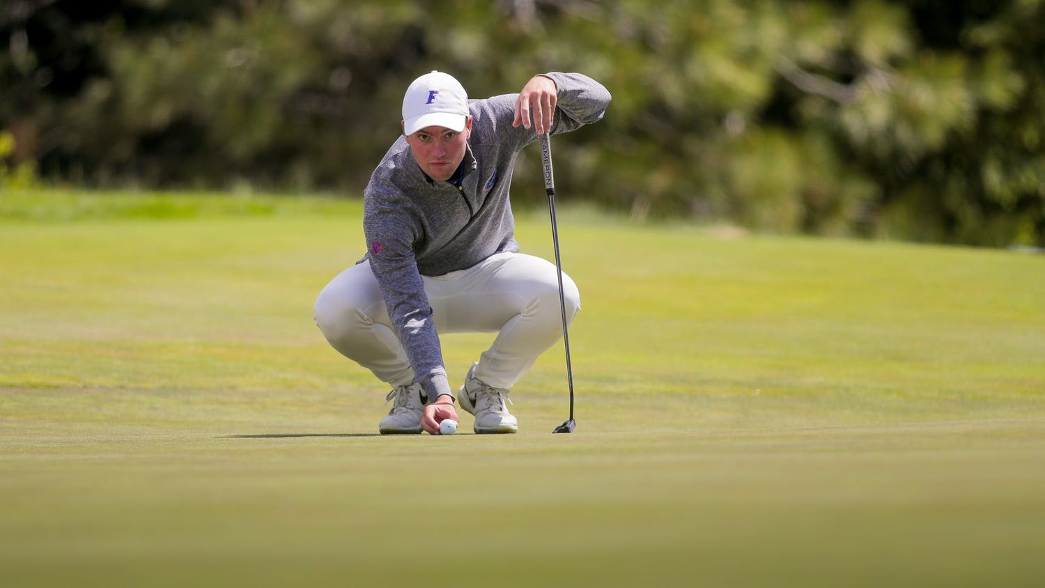 Joe Pagdin of The University of Florida's men's golf team competes in the first round of the 2021 NCAA  Cle Elum Regional at Tumble Creek Golf Club in Cle Elum, Wash., on May 17, 2021. (Photography by Scott Eklund/Red Box Pictures)