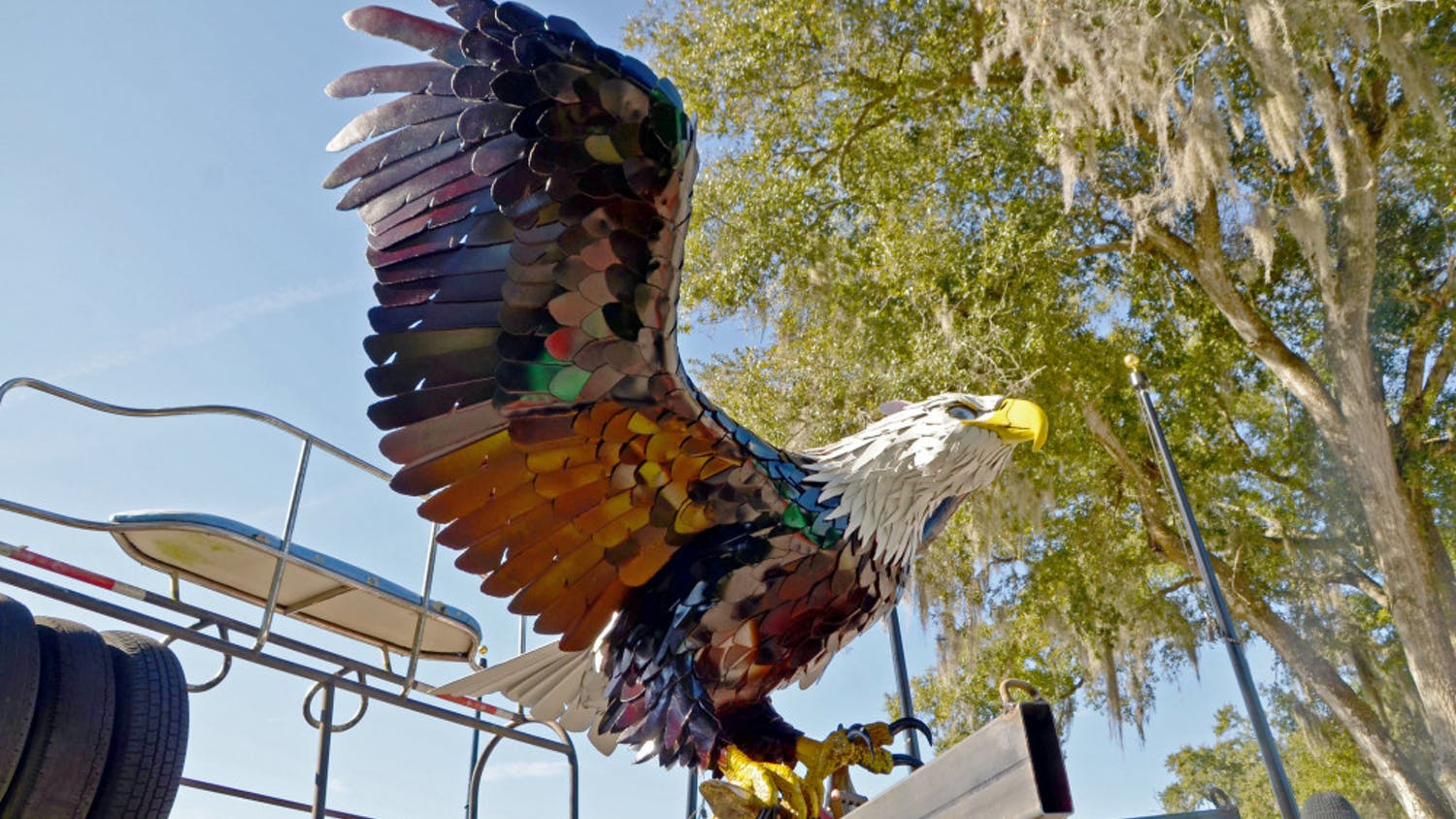 An eagle sculpture displayed at the park is made of recycled shipping containers and beer kegs.