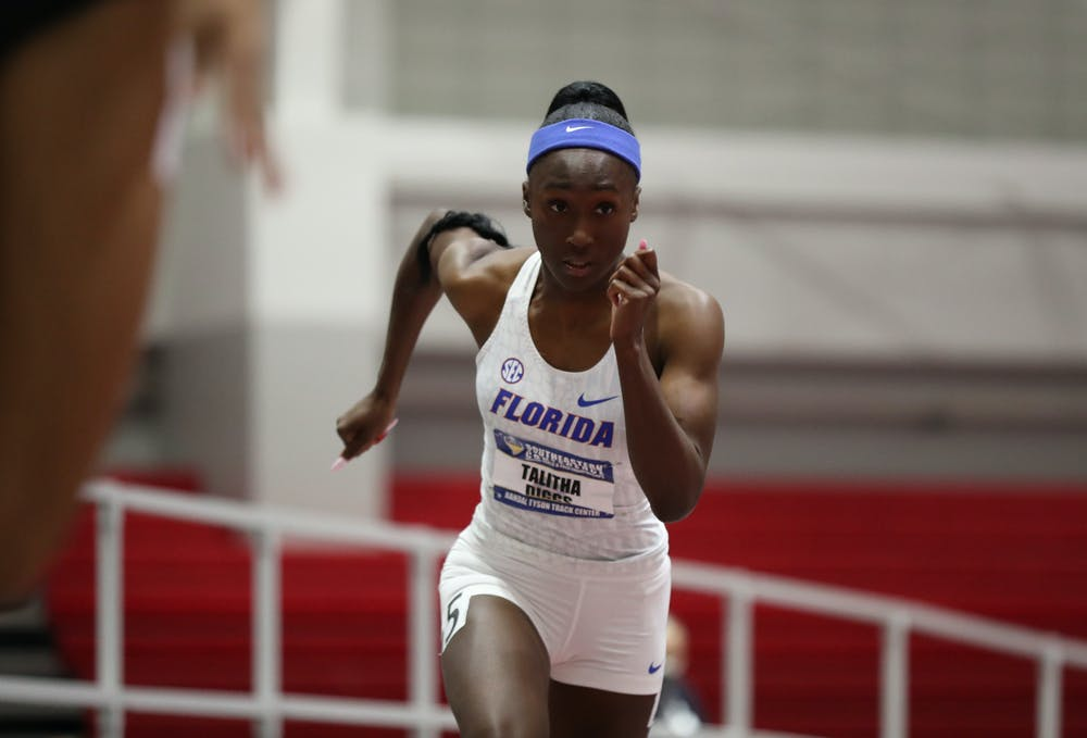 Florida's Talitha Diggs competes during the SEC Indoor Track and Field Championships on Saturday, February 27, 2021 at Randal Tyson Track Center in Fayetteville, Ark. / UAA Communications photo by Alex de la Osa