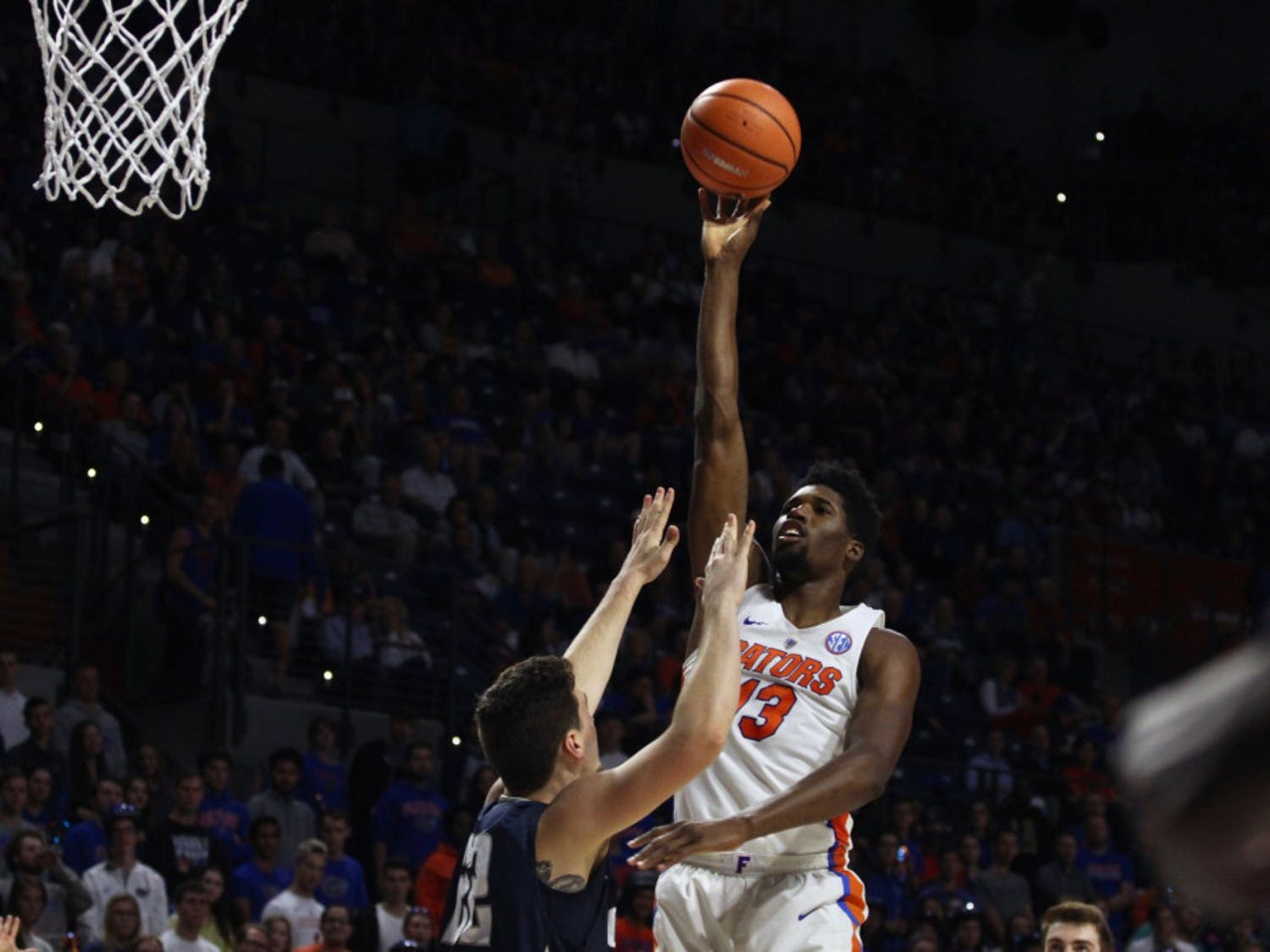 """Florida coach Mike White said center Kevarrius Hayes is the only player devoting 100-percent effort to rebounding. """"He's been asked to go, it's his job,"""" White said, """"Kevarrius Hayes - and he's hard to block out because he goes 10 out of 10 times."""""""