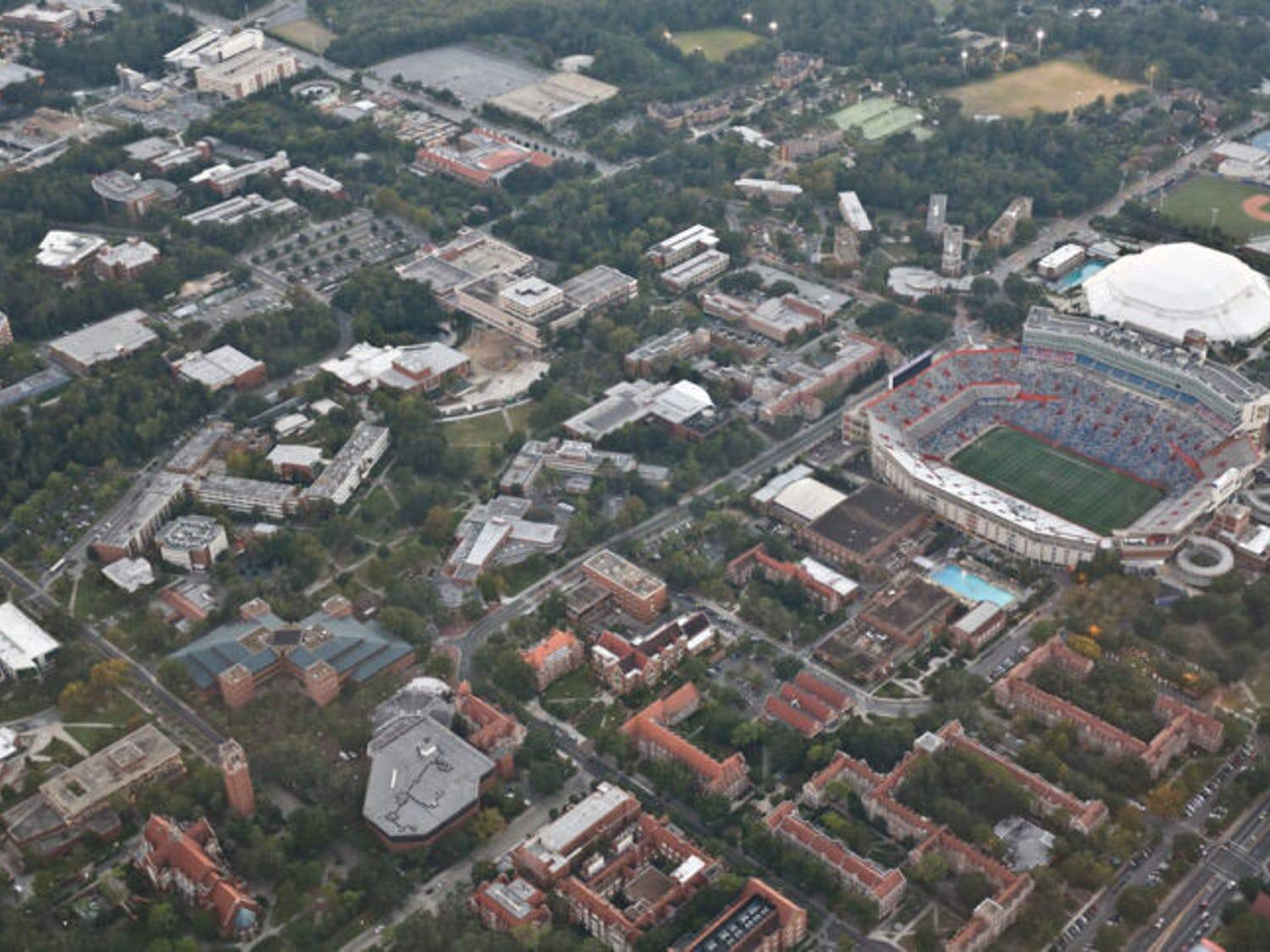 This shot, taken in October 2013, shows UF's campus from above. On Jan. 6, 1853, state Governor Thomas Brown signed a bill giving public support to higher education.