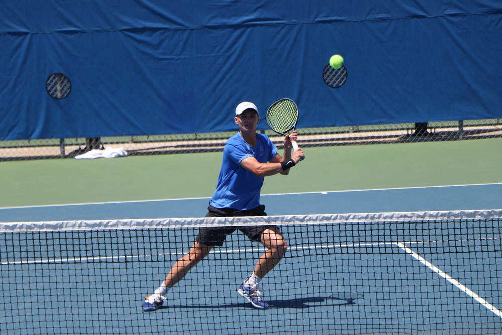 <p>Florida&#x27;s Sam Riffice prepares to return a ball against South Florida on May 9. Riffice will attempt to help the Gators defend their first national title in school history. <br/><br/></p>