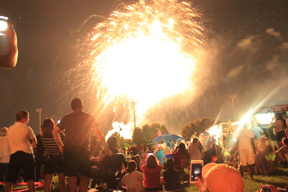 """<p dir=""""ltr""""><span>Spectators watch the fireworks display at the end of the Fanfare and Fireworks 2018 event at Flavet Field.</span></p><p><span></span></p>"""