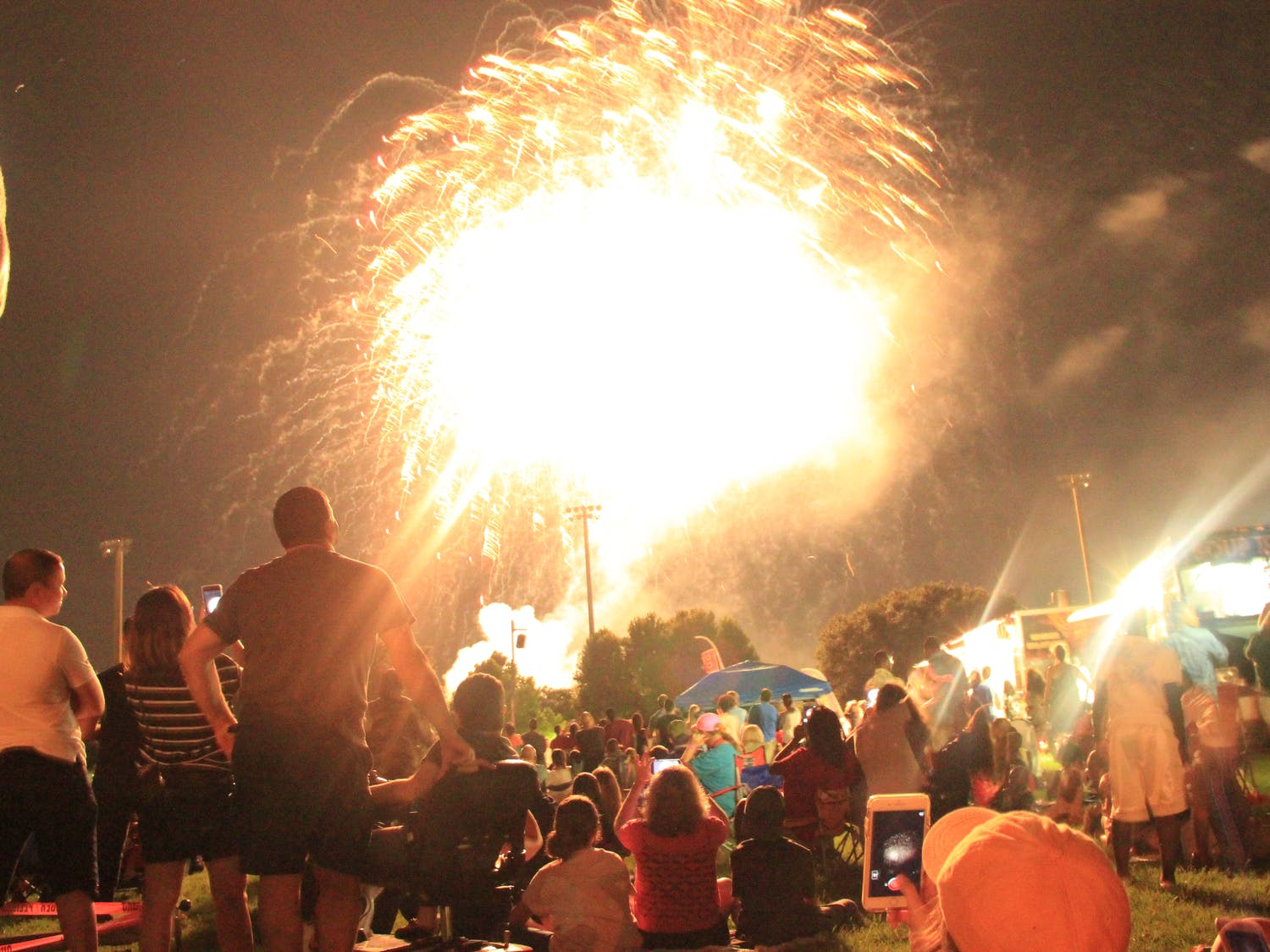 Spectators watch the fireworks display at the end of the Fanfare and Fireworks 2018 event at Flavet Field.