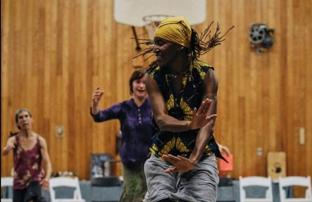 Barakissa Couliaby, 42, professional dancer, performs a West African dance routine at the Asheville Percussion Festival in North Carolina on July 1, 2017.