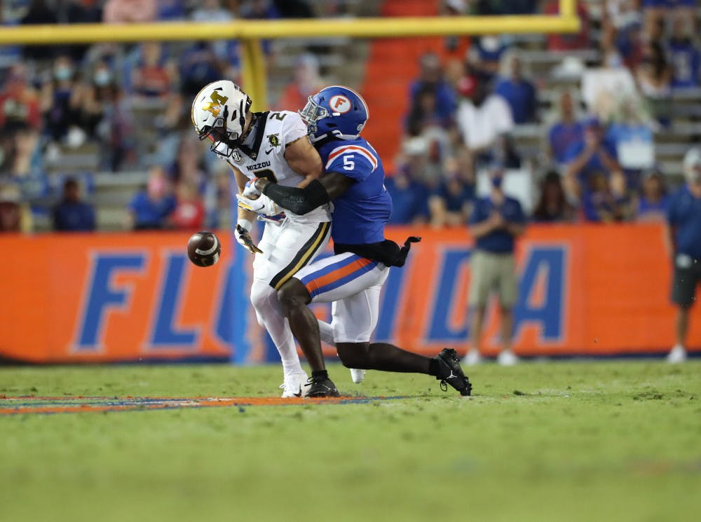 <p>Kaiir Elam at the Gators' game against the Missouri Tigers last Saturday. Florida' defense will face its greatest challenge yet in Georgia this weekend.</p>