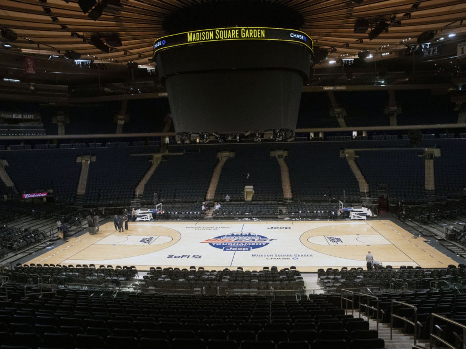 Madison Square Garden is shown after NCAA college basketball games in the men's Big East Conference tournament were cancelled due to concerns about the coronavirus, Thursday, March 12, 2020, in New York. The major conferences in college sports have all cancelled their basketball tournaments because of the new coronavirus, putting the celebrated NCAA Tournament in doubt.(AP Photo/Mary Altaffer)
