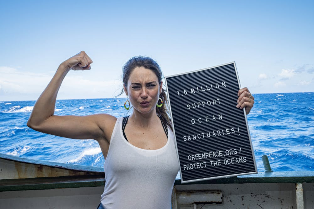 <p><span>Shailene Woodley joined UF researchers Nerine Constant and Alexandra Gulick on a Greenpeace expedition to the Sargasso Sea. Woodley wrote a TIME article detailing her experiences on the expedition and how she will continue advocating for protecting the oceans.<span>© Shane Gross / Greenpeace </span></span></p>