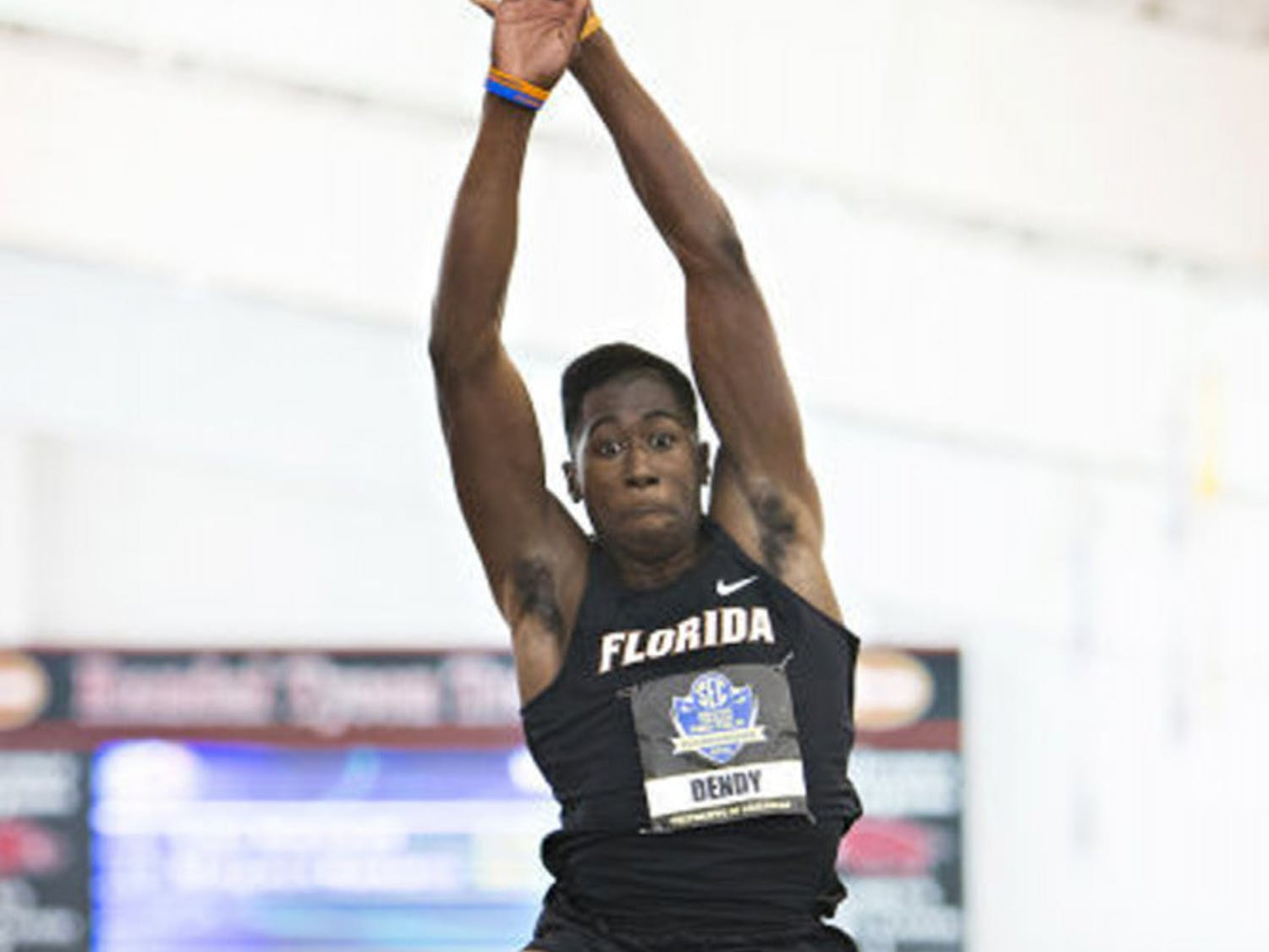 Marquis Dendy competes at the Southeastern Conference Indoor Track Championships on Feb. 23, 2013, in Fayetteville, Ark. Dendy won the long jump on Day 2 of the NCAA Outdoors Championships on Thursday in Eugene, Ore.