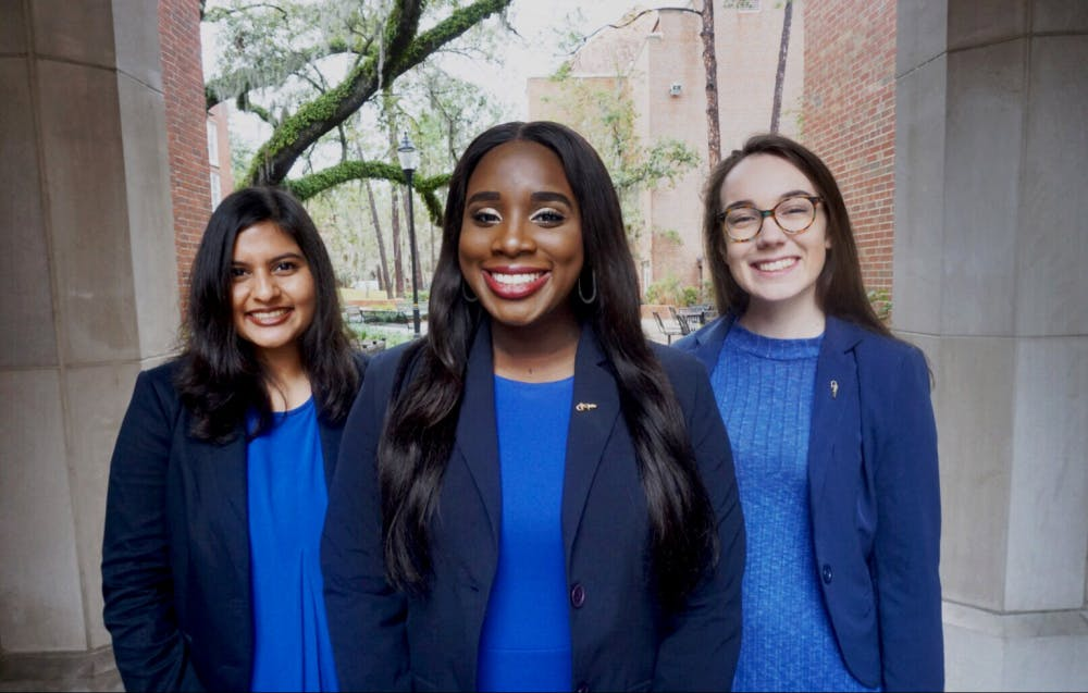 "<p>From left: <span id=""docs-internal-guid-15ce9b06-4475-bb82-2fa7-21fc2ae1463c""><span>Shayli Patel, running for Student Body vice president, Janae Moodie, running for Student Body president and Chase Werther, running for Student Body treasurer.</span></span></p>"