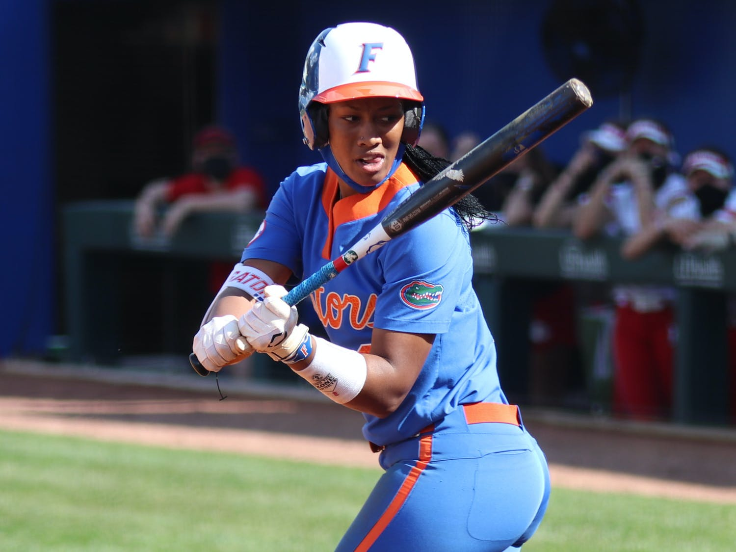 Center fielder Cheyenne Lindsey bulleted a stand-up double to left field and jolted Florida out of its rut. Photo from UF-Lousiville game Feb. 27.