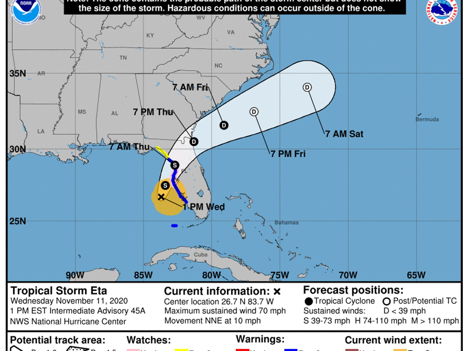 The storm, with sustained winds of 75 mph, is centered roughly 140 miles southwest of Tampa, and is moving to the northeast as of Wednesday afternoon.