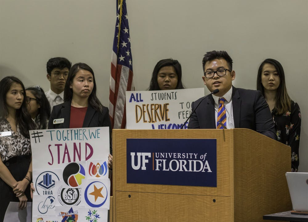 """<p dir=""""ltr""""><span>Kevin Nguyen, president of the Vietnamese Student Organization, speaks during the public comment part of the UF Student Government Senate meeting on Aug. 6. Nguyen began by stating things SG members all have in common. He said that they were all Gators, all served in the Senate and all could make a difference. """"We all have the potential to do something great,"""" Nguyen said.</span></p>"""