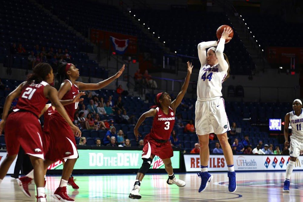 <p>UF forward Haley Lorenzen attempts a jump shot during Florida's 57-53 win against Arkansas on Feb. 9, 2017, in the O'Connell Center.</p>