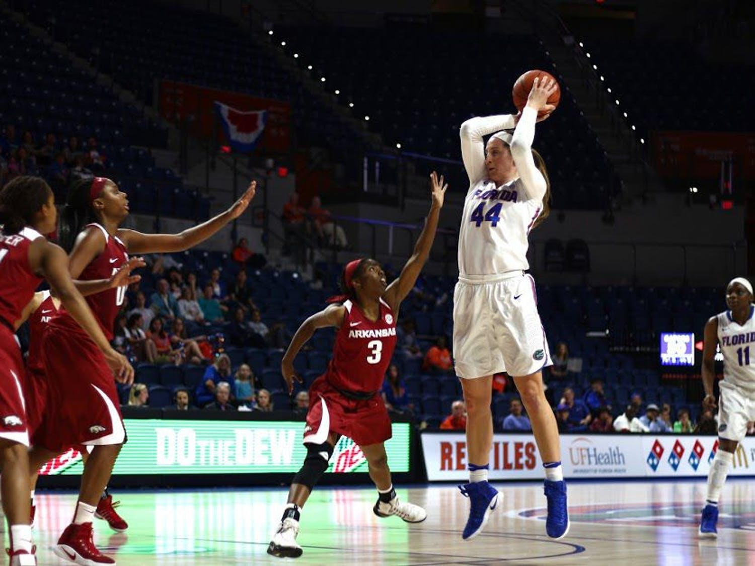 UF forward Haley Lorenzen attempts a jump shot during Florida's 57-53 win against Arkansas on Feb. 9, 2017, in the O'Connell Center.