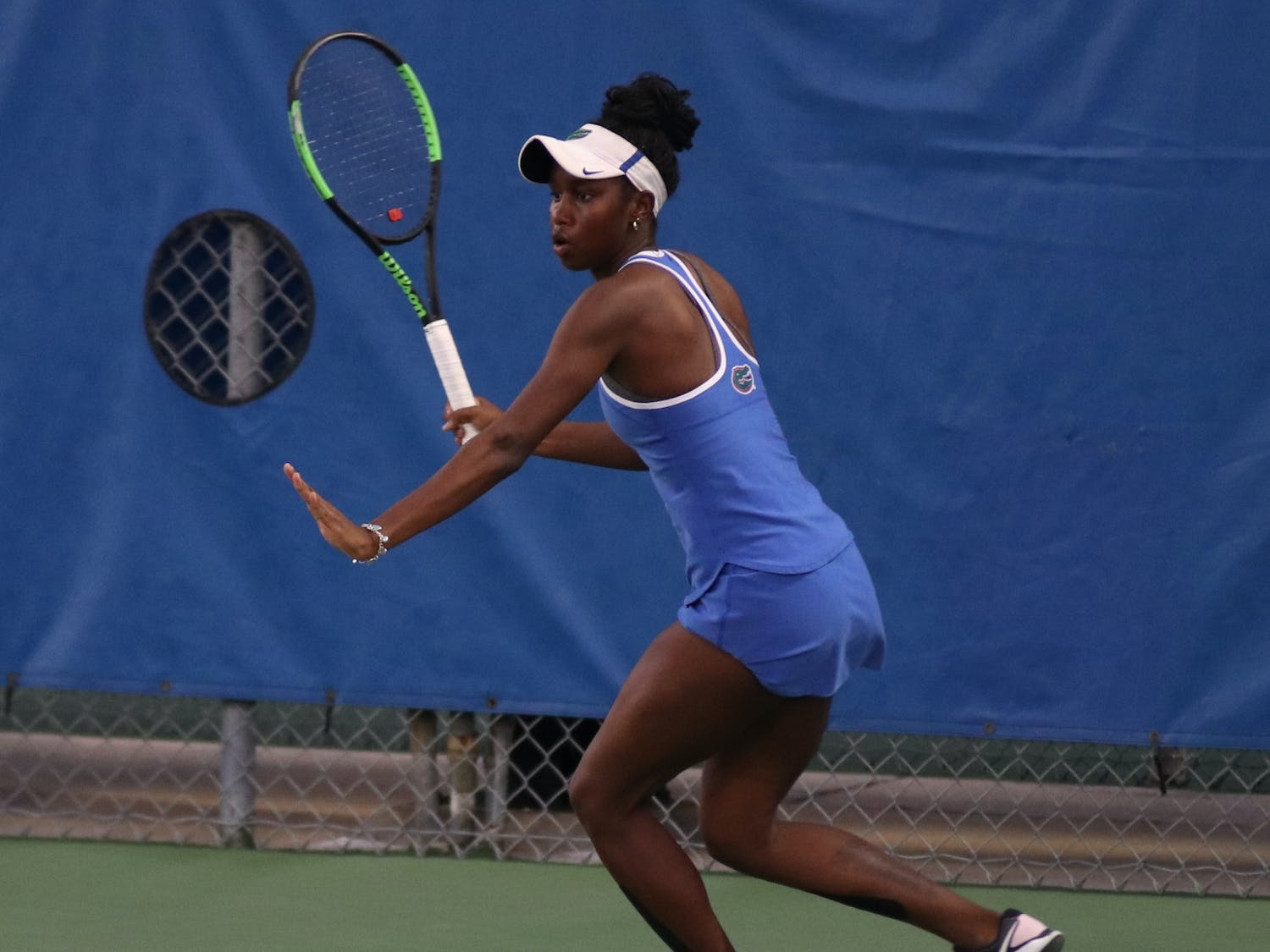 Marlee Zein prepares a forehand return against LSU Feb. 26