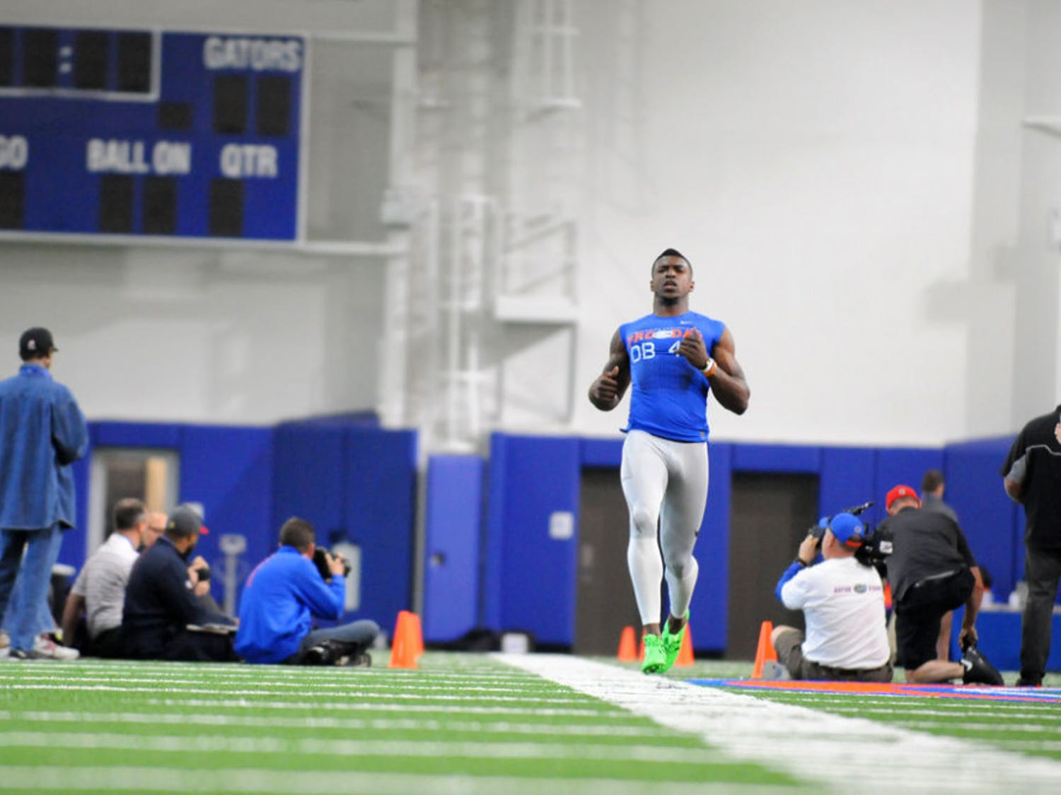 Eighteen UF football players, 15 of whom were on the team last season, practiced in front of 70 scouts and assistant coaches representing all 32 NFL teams ahead of May's NFL Draft.