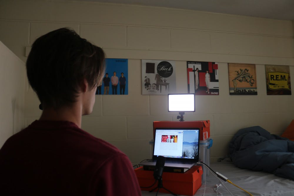 <div>Bryce Hagen, 19, a UF acting sophomore practicing remotely for theatre and dance productions.</div>