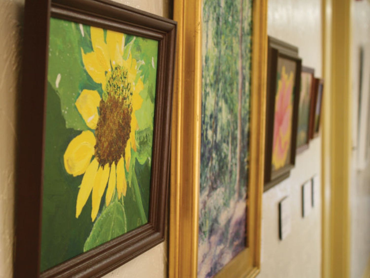 "The Thomas Center Mezzanine Gallery displays work created by Alachua County Public Schools staff for the exhibition ""The Artist in All of Us."" The show is scheduled to run until Nov. 16."