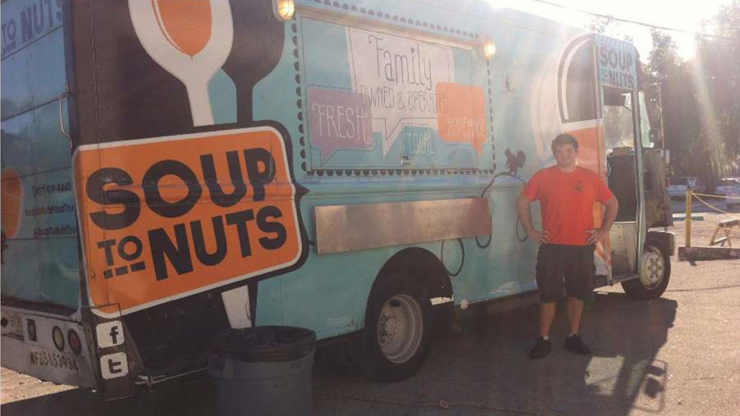 Peter Sturgeon, 26, stands outside his food truck, Soup to Nuts, as he prepares for an event at First Magnitude Brewery.
