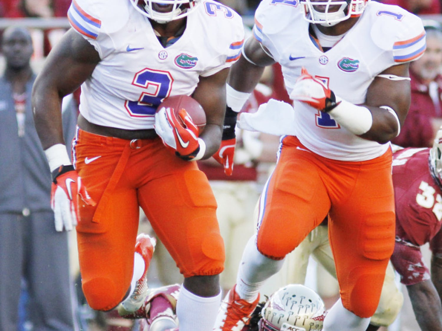 Jelani Jenkins (3) returns an interception during Florida's 37-26 win against Florida State on Nov. 24 at Doak Campbell Stadium. Jenkins was one of three former Gators chosen by the Miami Dolphins on Friday.