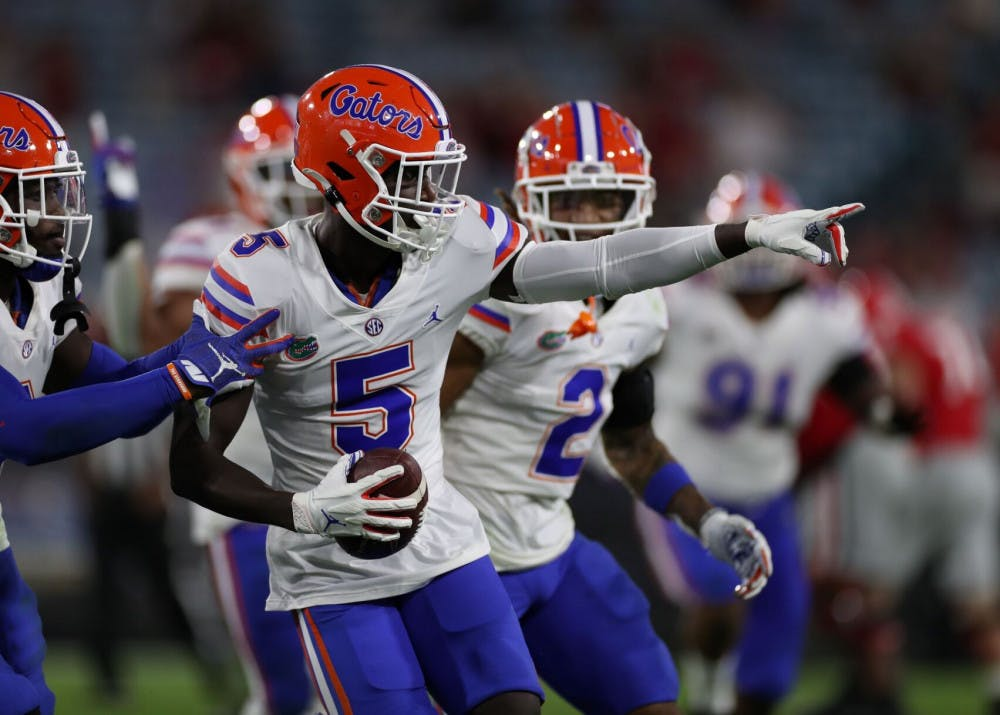<p>Defensive back Kaiir Elam (5) at the Gators game versus UGA Nov. 7.</p>