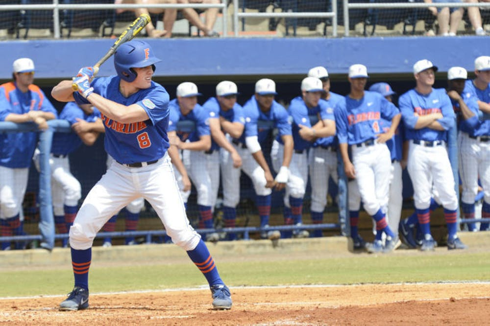 """<p class=""""p1""""><span class=""""s1"""">Outfielder Harrison Bader bats during Florida's 4-0 win against Ole Miss on March 31, 2013,&nbsp;at McKethan Stadium.</span></p>"""