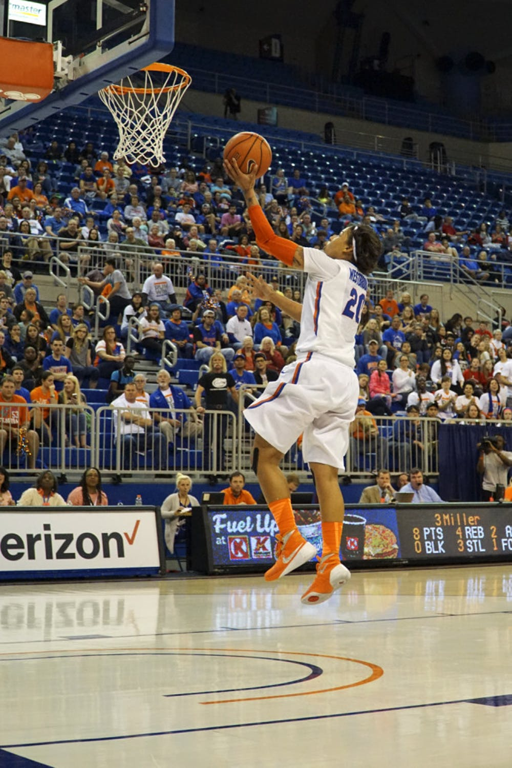 <p>UF guard Simone Westbrook attempts a layup during Florida's 85-79 win over Kentucky on Jan. 31, 2016, in the O'Connell Center.</p>