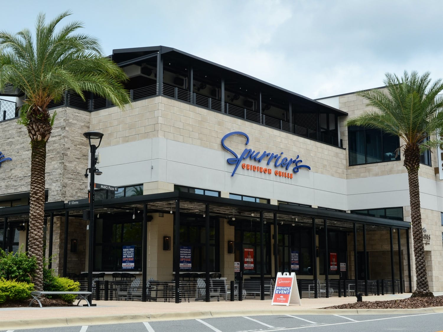 The Spurrier's Gridiron Grille and rooftop bar, as seen on Sunday, August 1, 2021, had to delay opening due to staffing issues. The restaurant, which is located at 4860 SW 31st Place in Gainesville, will open August 11.