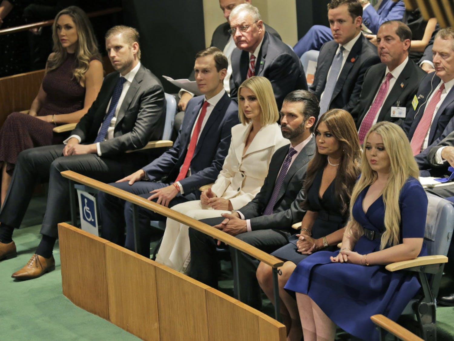 Members of U.S. President Donald Trump's family and others listen to him speak during the 74th session of the United Nations General Assembly at U.N. headquarters Tuesday, Sept. 24, 2019. From right to left, Tiffany Trump, Kimberly Guilfoyle, Donald Trump Jr., Ivanka Trump, Jared Kushner, Eric Trump and Lara Trump. (AP Photo/Seth Wenig)