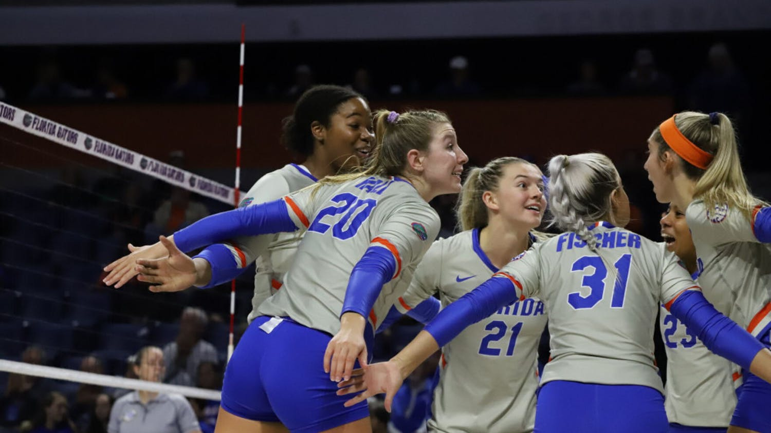 The Florida volleyball team huddles in a game against LSU in 2019. Florida fell to Stanford Tuesday night 3-1.