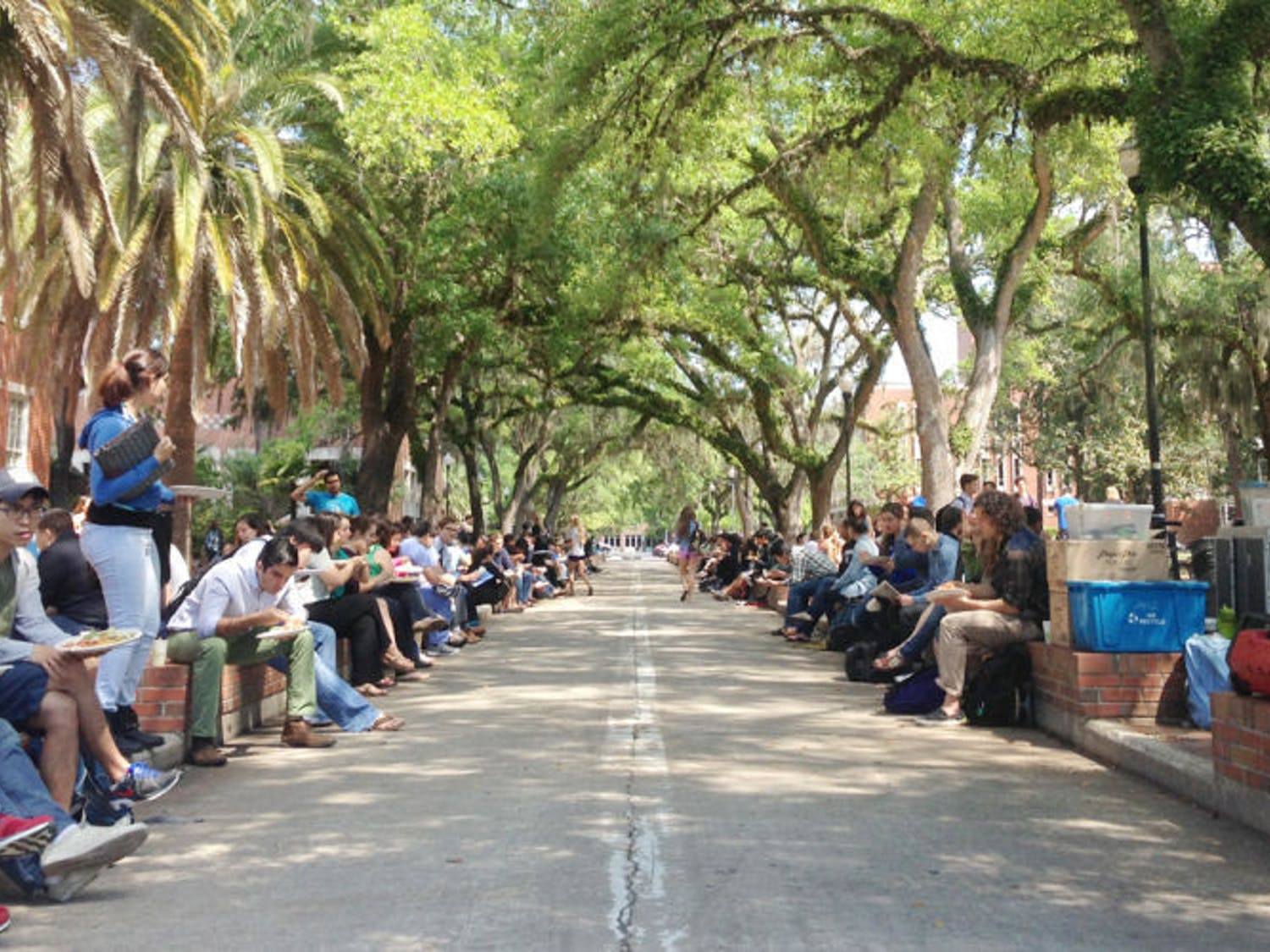 UF students eat Krishna Lunch near the Plaza of the Americas. The warm weather and Wednesday menu offering of spaghetti brought a large turnout.