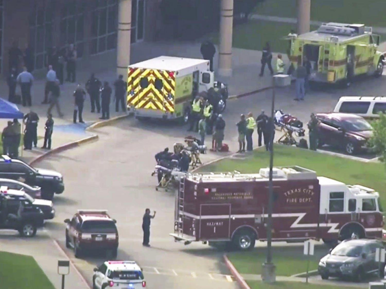 Ten people died in a school shooting on Friday at Santa Fe High School, just south of Houston, Texas. (KTRK-TV ABC13 via AP)